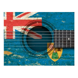 Old Acoustic Guitar with Turks and Caicos Flag Postcard