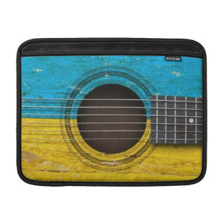 Old Acoustic Guitar with Ukrainian Flag Sleeves For MacBook Air