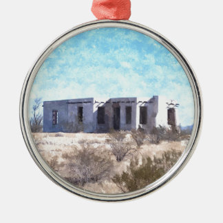 Old Adobe in Watercolor Silver-Colored Round Decoration
