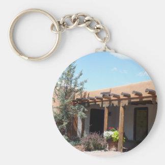 Old Adobe Santa Fe New Mexico Basic Round Button Key Ring