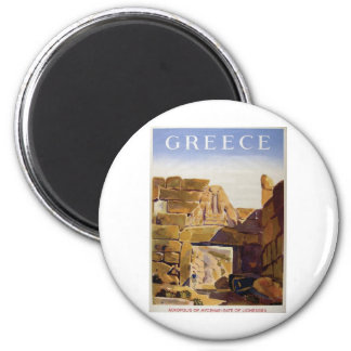 Old Advert Greece Mycenae Gate Of Lionesses 6 Cm Round Magnet