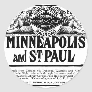 Old Advert Illinois Central Railroad Round Sticker