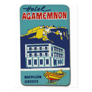 Old Advert Nafplio Greece Hotel Agamemnon Postcard