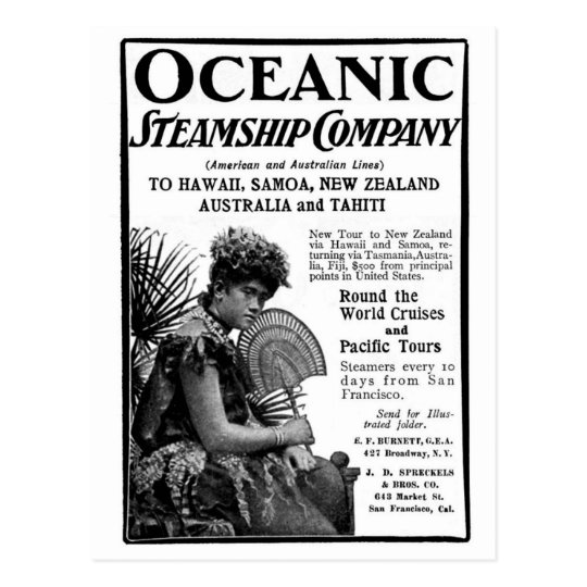 Old Advert Oceanic Steamship Company Postcard