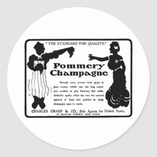 Old Advert Pommery Champagne Classic Round Sticker
