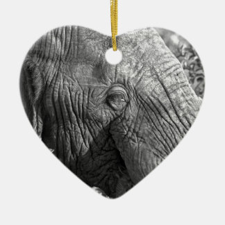 Old African Elephant Ceramic Heart Decoration