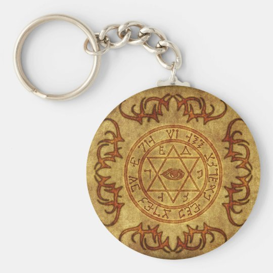 old age wicca- protective basic round button key ring
