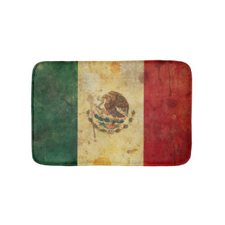 Old, Aged And Worn Grunge Flag Of Mexico Bath Mats