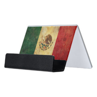 Old, Aged And Worn Grunge Flag Of Mexico Desk Business Card Holder