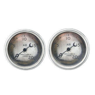 Old air pressure gauge from a vintage racing car cufflinks