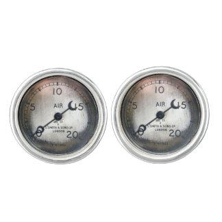 Old air pressure gauge from a vintage racing car cufflinks