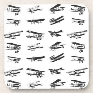 Old airplanes in black and white, vintage aircraft coaster