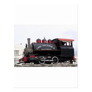 Old Alaska Railroad steam engine, Anchorage, AK Postcards