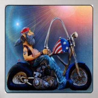Old American Biker Poster