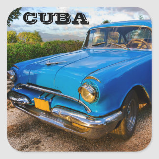 Old American classic car in Trinidad, Cuba Square Sticker