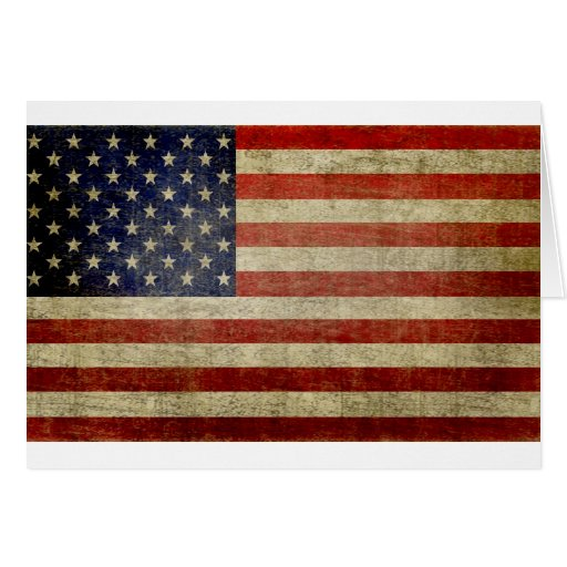 Old American Flag Card