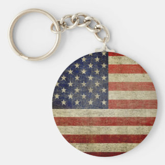 Old American Flag Key Ring