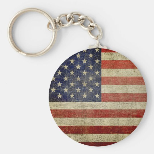 Old American Flag Key Ring
