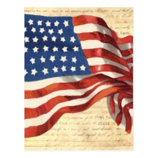 Old American Flag Painting Postcard