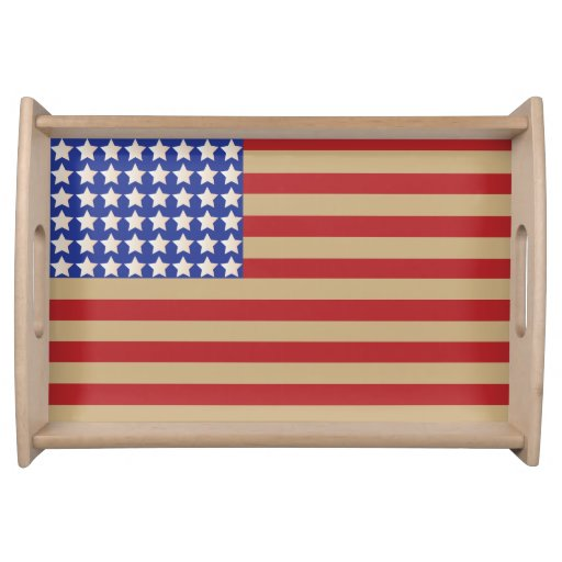 Old American Flag Service Tray