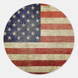 Old American Flag Round Sticker
