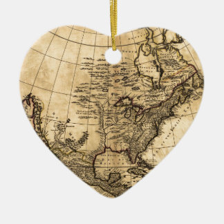 Old American Map Ceramic Heart Decoration