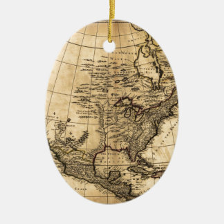 Old American Map Ceramic Oval Decoration
