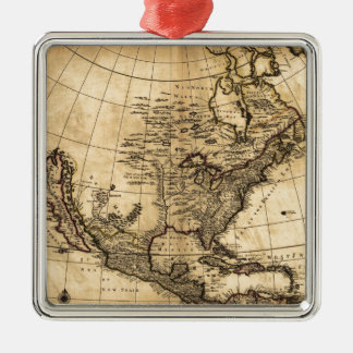 Old American Map Silver-Colored Square Decoration
