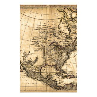 Old American Map Stationery Paper