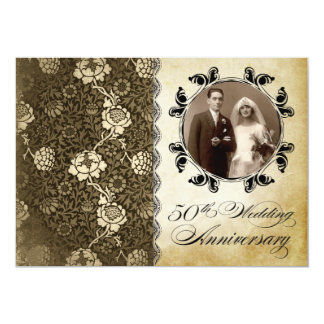 old and floral pattern anniversary photo invites