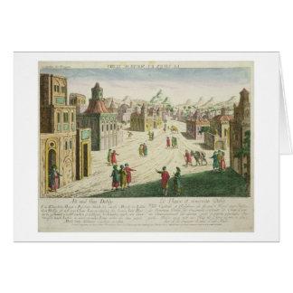 Old and New Delhi (aquatint) Card
