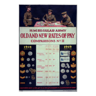 Old and new rates of pay WWI Print