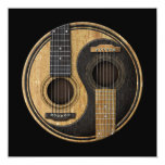 Old and Worn Acoustic Guitars Yin Yang 13 Cm X 13 Cm Square Invitation Card