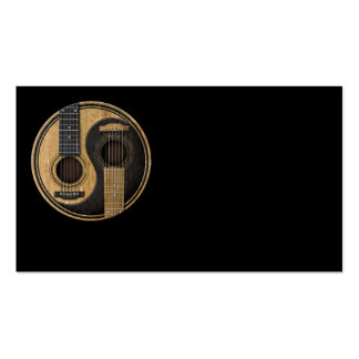 Old and Worn Acoustic Guitars Yin Yang Business Card Template