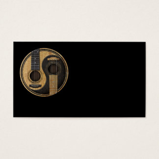 Old and Worn Acoustic Guitars Yin Yang Business Card