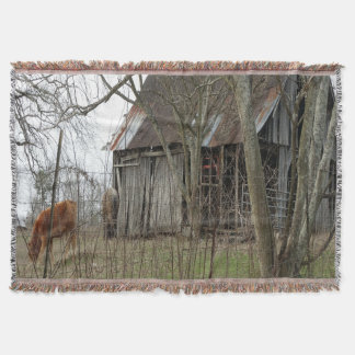 Old Antique Barn Throw Blanket