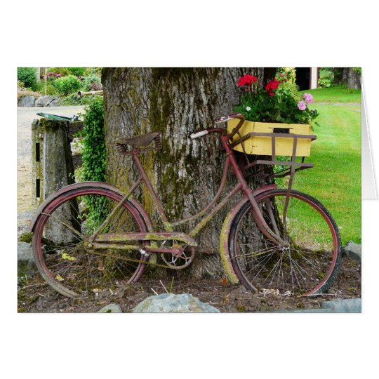 Old Antique Bicycle with Flower Basket Card