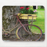 Old Antique Bicycle with Flower Basket Mouse Pad