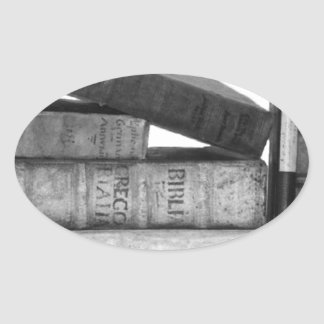Old Antique Books Oval Sticker