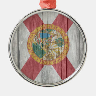 Old antique faded wood Florida Flag Silver-Colored Round Decoration