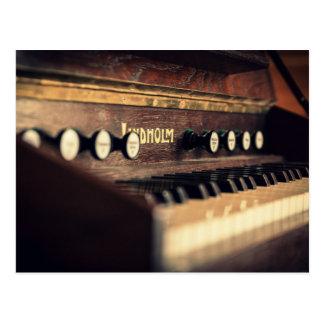 Old Antique Keyboard Piano Keys Instrument Postcard