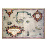 Old Antique Map of the Azores from 1584 replica Photo Print