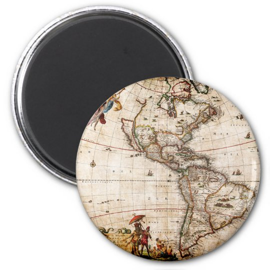 Old Antique North & South America Map 6 Cm Round Magnet
