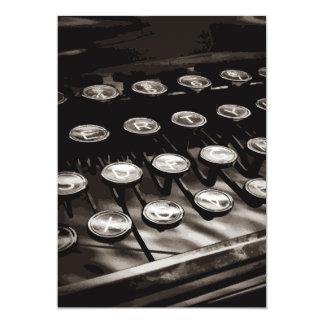 Old Antique Typewriter Keys Black White Card