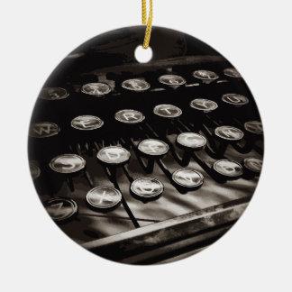 Old Antique Typewriter Keys Black White Double-Sided Ceramic Round Christmas Ornament