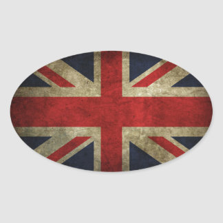 Old Antique UK British Union Jack Flag Oval Sticker