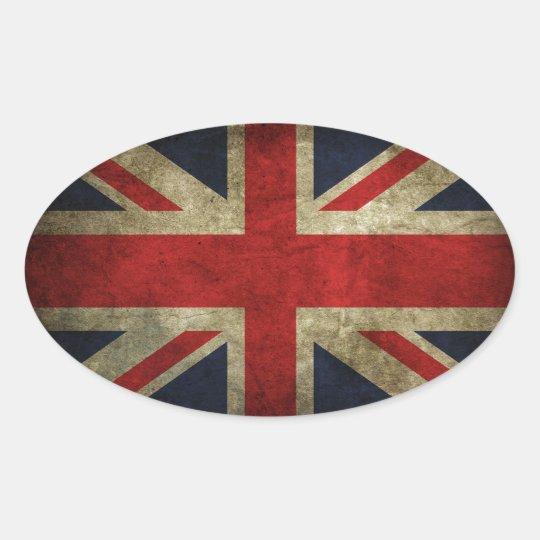 Old Antique UK British Union Jack Flag Oval