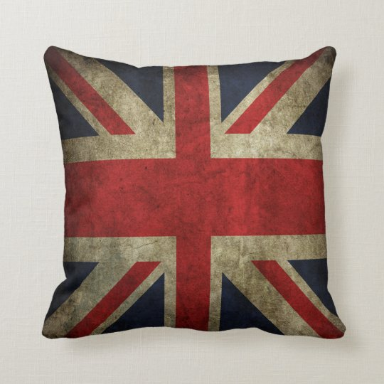 Old Antique UK British Union Jack Flag Pillow