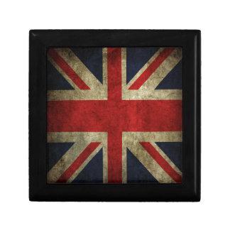 Old Antique UK British Union Jack Flag Small Square Gift Box