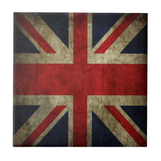 Old Antique UK British Union Jack Flag Small Square Tile